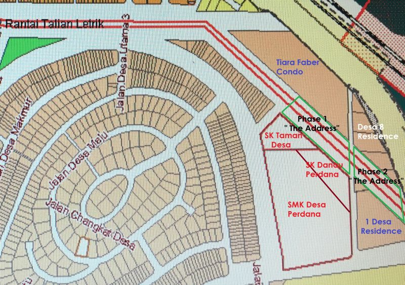 A map showing the location of The Address project site, as well as the three neighbouring condominiums and three neighbouring schools. — Picture courtesy of the Protect Taman Desa coalition