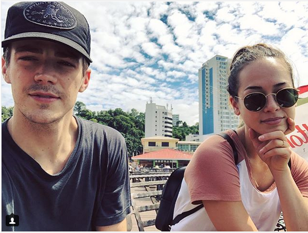 Gustin shared a photo of the duo with some buildings at the background, which sharp-eyed local fans identified to be in Kota Kinabalu. — Picture via Instagram