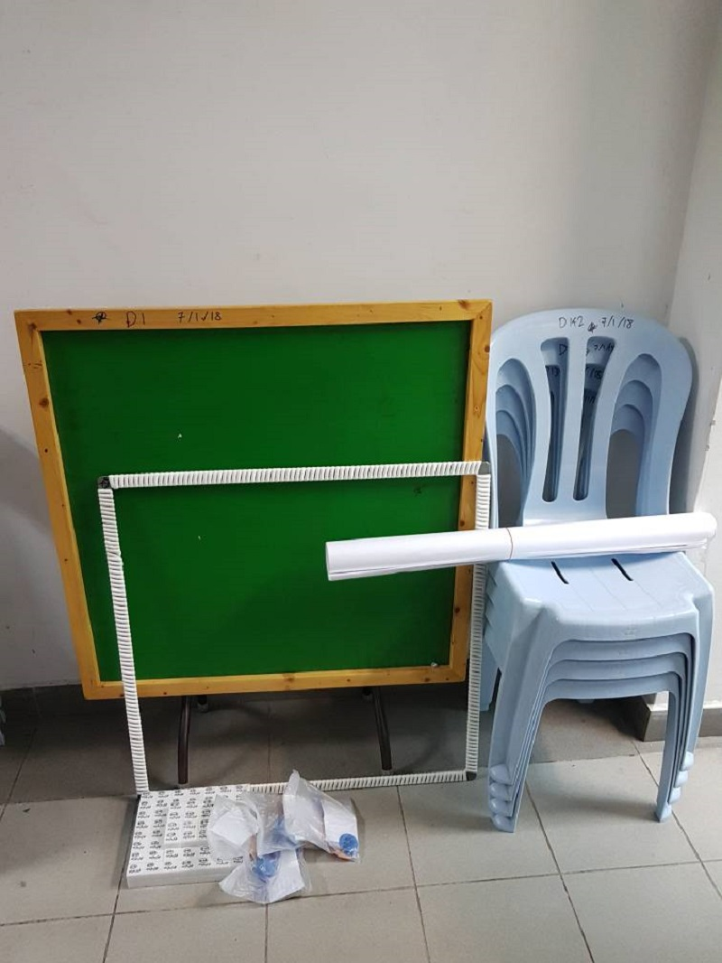 Some of the mahjong tables seized from the premises during the police raid. — Picture courtesy of Royal Malaysian Police