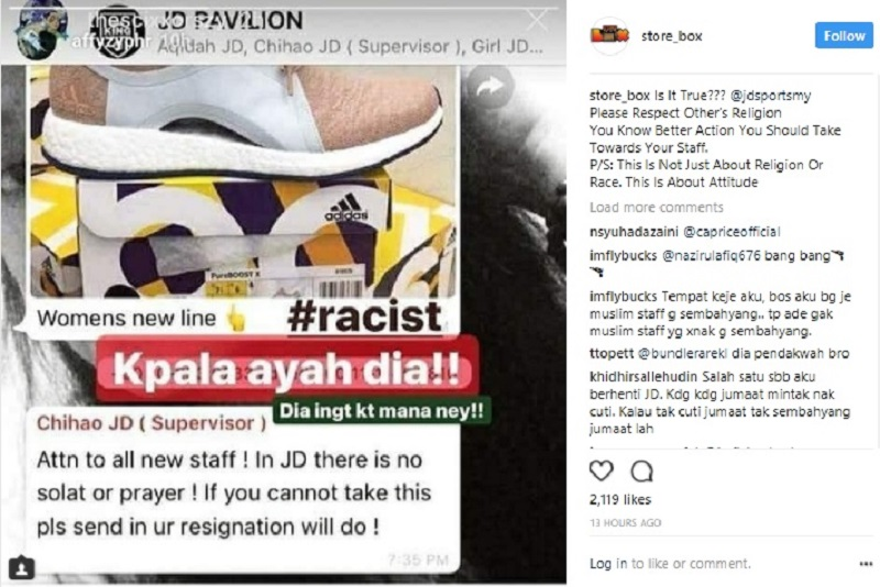 An Instagram user previously contacted the firm about an allegation that the outlet was barring its Muslim workers from performing their daily prayers. — Screen capture via Instagram/ store_box