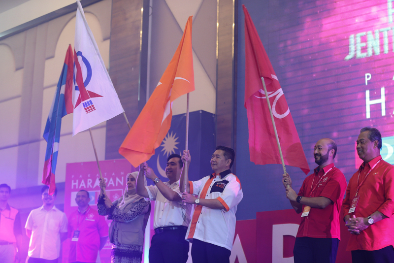 File picture showing pakatan Harapan leaders waving their party flags during the Pakatan Harapan convention in Shah Alam January 7, 2018. ― Picture by Ahmad Zamzahuri