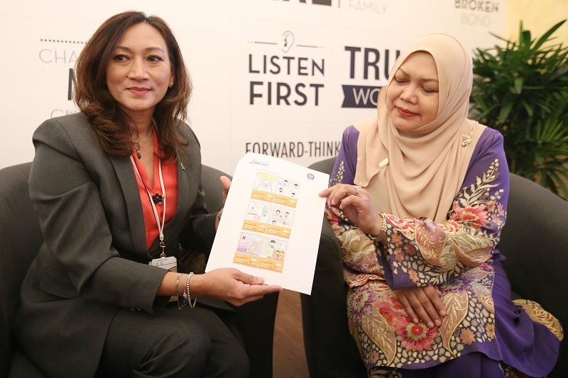 Corporate communications general manager Nik Anis Nik Zakaria (left) and Suradini show the witty poster used to spread awareness on toilet etiquette. — Picture by Azinuddin Ghazali