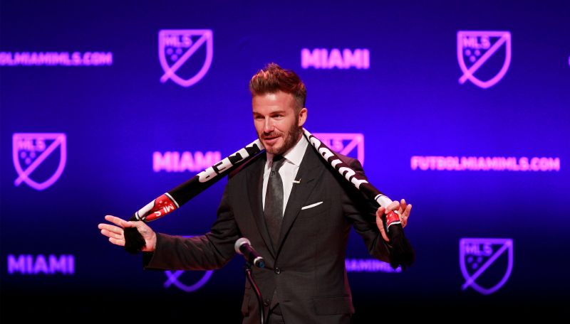 David Beckham, wearing a league scarf, speaks at the official announcement for Miami's MLS expansion team in Miami January 30, 2018. ― Reuters pic