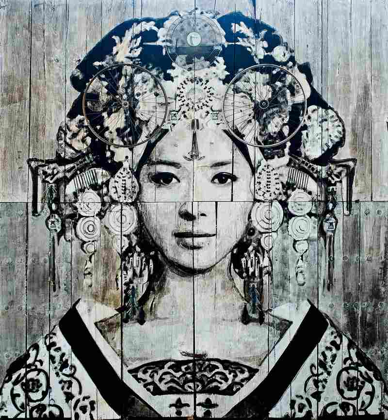 YZ, 'Empress Wu,' 2015, installation painted on antique doors, part of 'Art from the Streets.' — Picture courtesy of Stephane Bisseuil/Magda Danysz Gallery