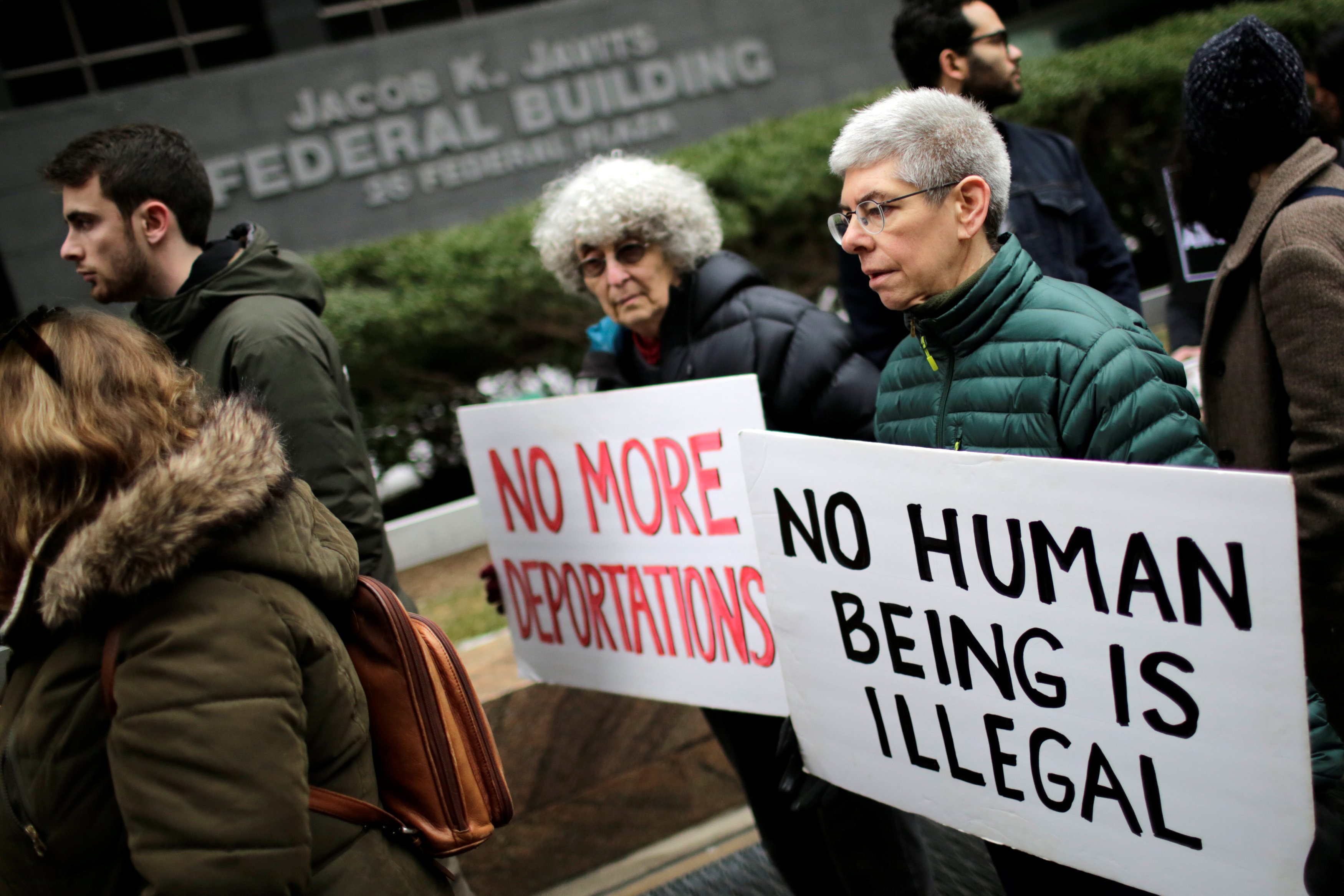 Activists demonstrate against deportation during a protest outside the Jacob Javits Federal Building in Manhattan in New York City, January 11, 2018. — Reuters pic