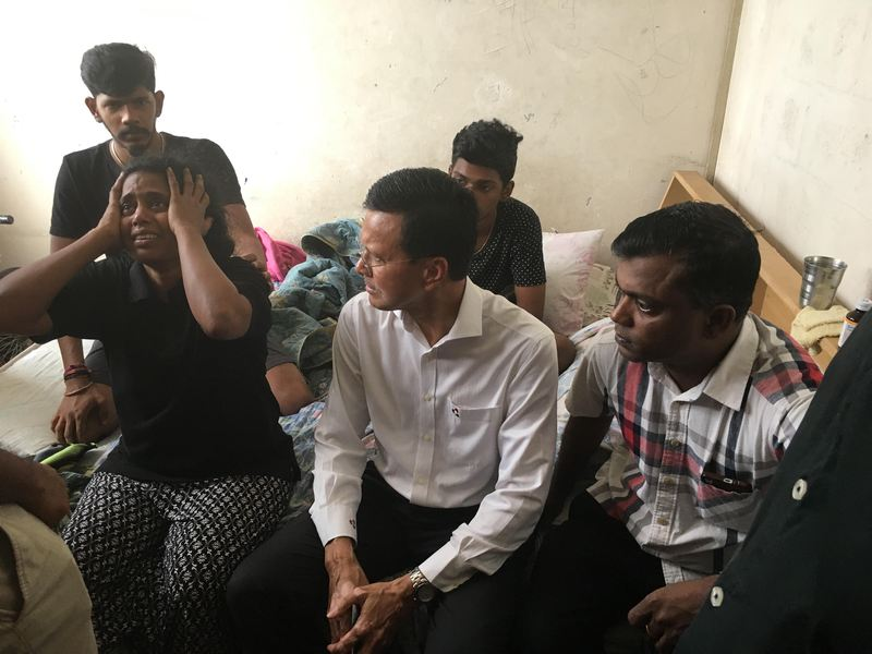 (From left) Kasthuri Bai lamenting her son's death, as Raja Nong Chik and her husband Sathiasilan listen on in Kuala Lumpur January 16, 2018. — Picture by Jerry Choong