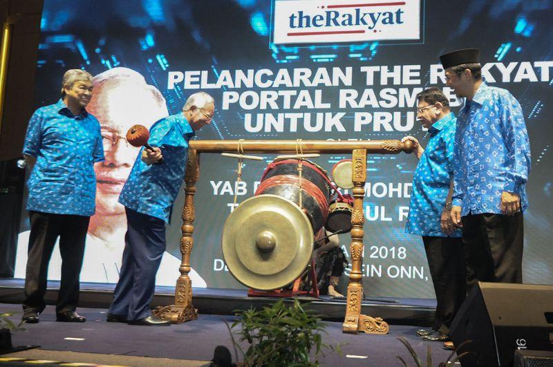 Datuk Seri Najib Razak launches 'TheRakyat.com' at Putra World Trade Centre in Kuala Lumpur January 3, 2018. ― Picture by Miera Zulyana