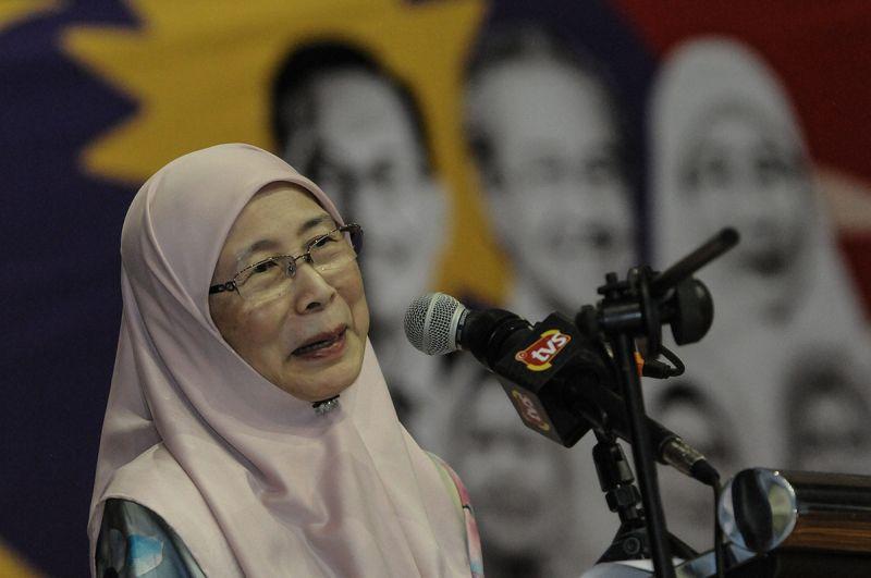 Datuk Seri Wan Azizah Wan Ismail speaks during the launch of the Pakatan Harapan women's wing a in Kajang January 6, 2018. ― Picture by Miera Zulyana