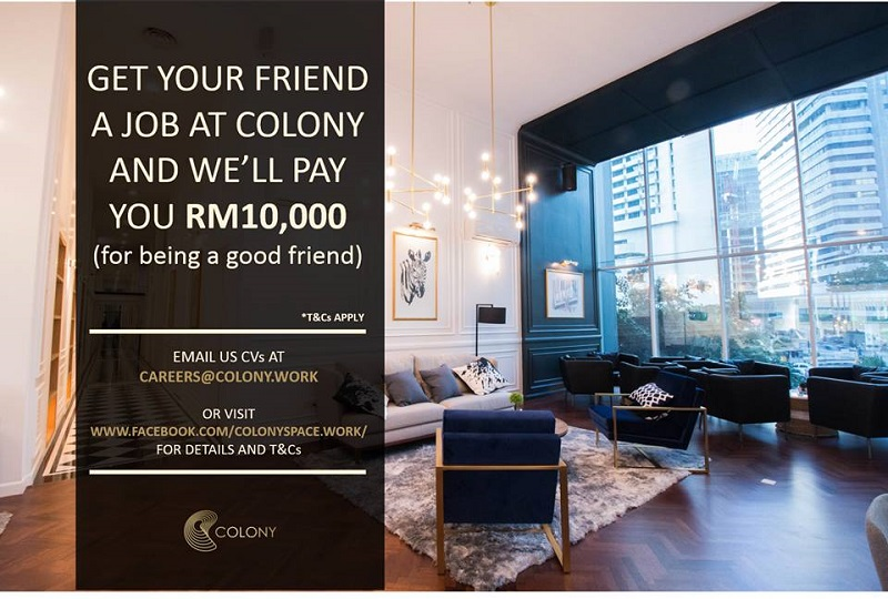 Colony said the move to offer a RM10,000 fee for successful referrals was to support the firm's long-term expansion plans. — Picture via Facebook/Colony Coworking Space KL
