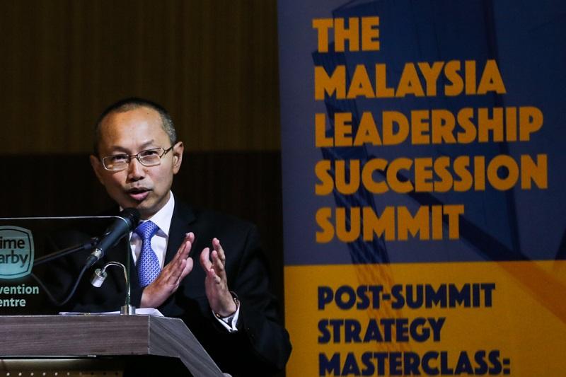 Tan Sri Abdul Wahid Omar delivers his keynote speech during The Malaysia Leadership Succession Summit in Kuala Lumpur February 6, 2018.— Picture by Ahmad Zamzahuri
