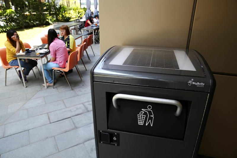 Smart solar-powered bins are seen in Biopolis in Singapore. — TODAY pic