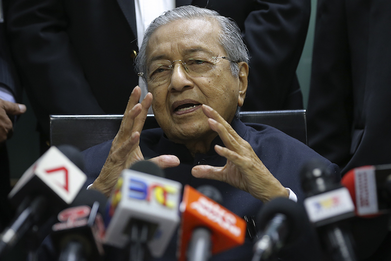 Tun Dr Mahathir giving a press conference at the Opposition office in the Parliament building, Kuala Lumpur March 6, 2018. — Picture by Azneal Ishak