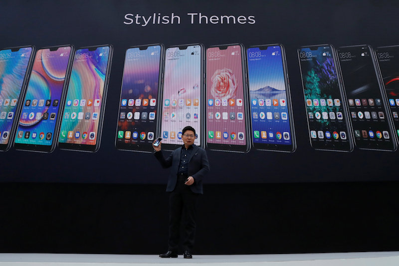 Richard Yu, CEO of the Huawei Consumer Business Group, attends the launching the new generation of its smartphone, Huawei P20, in Paris March 27, 2018. — Reuters pic