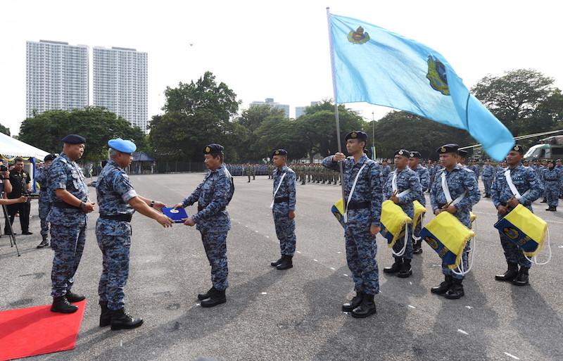 RMAF chief Gen Tan Sri Affendi Buang leads the special parade marking the relocation of the Kuala Lumpur Air Base headquarters in Sungai Besi to Sendayan RMAF base in Negri Sembilan in Kuala Lumpur March 15, 2018. — Bernama pic