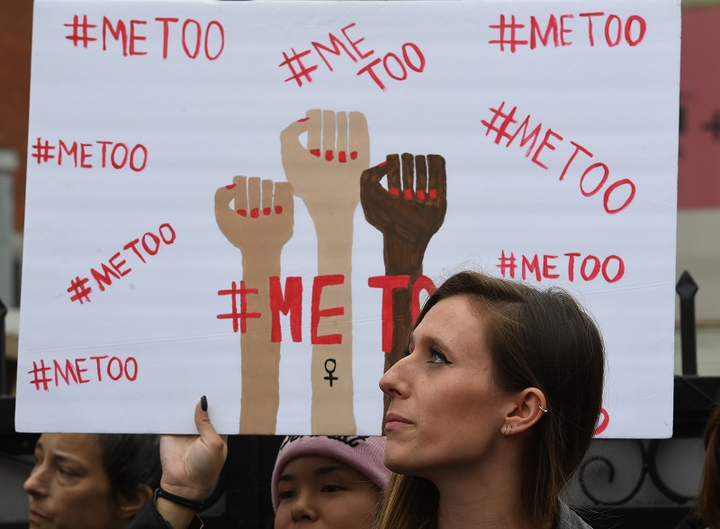 Victims of sexual harassment, sexual assault, sexual abuse and their supporters protest during a #MeToo march in Hollywood, California November 12, 2017. — AFP pic