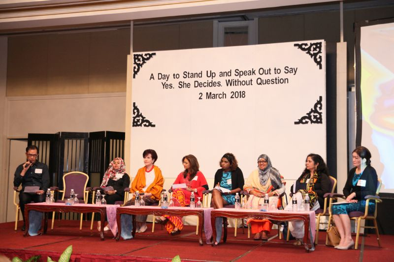A panel of women's rights activists and global representatives gather at an event to commemorate SheDecides' first anniversary at Hotel Istana, Kuala Lumpur March 2, 2018. — Picture courtesy of Arrow
