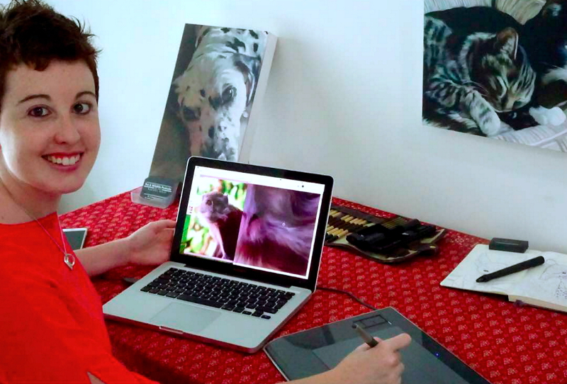 Digital artist Rachel Gray, 29, produces digital paintings that bring alive the characters of the animals on canvas. — Bernama pic