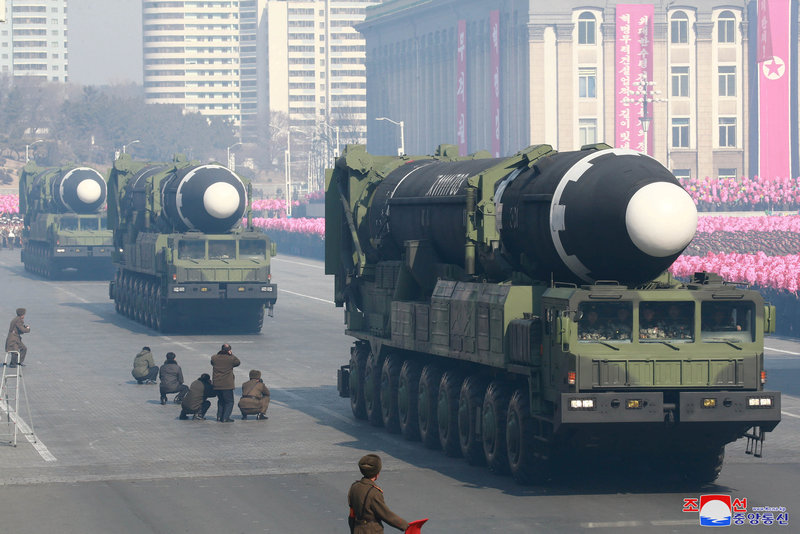 Intercontinental ballistic missiles are seen at a grand military parade in the Kim Il Sung Square, Pyongyang, in this photo released by North Korea's Korean Central News Agency (KCNA) February 9, 2018. — Reuters pic