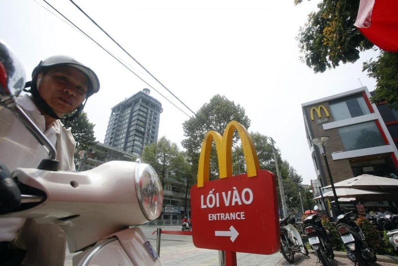 Vietnam's economy saw its strongest first-quarter growth in a decade, according to data released. File picture shows a man arriving at a McDonald's restaurant in Ho Chi Minh City, March 9, 2015. — Reuters pic