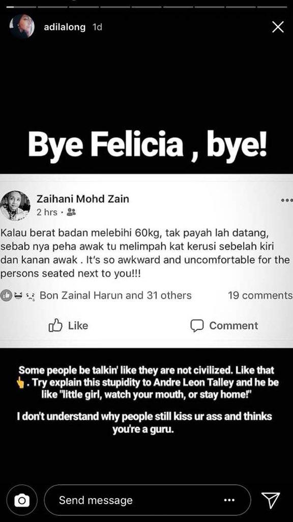 Adila slammed Zaihani on Instagram story.