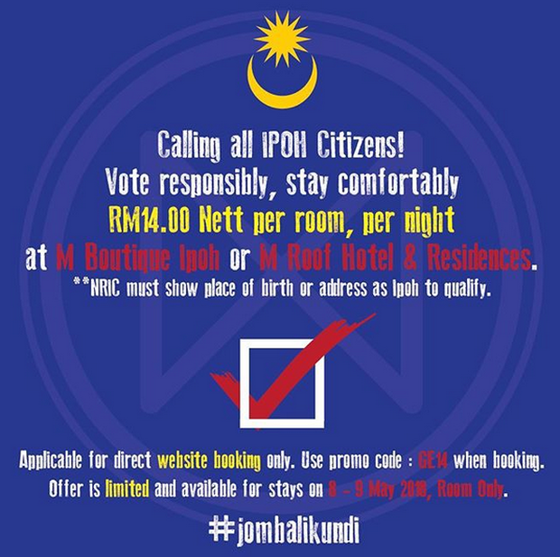RM14 for a hotel room just for those returning home to Ipoh to vote. — Picture via Instagram