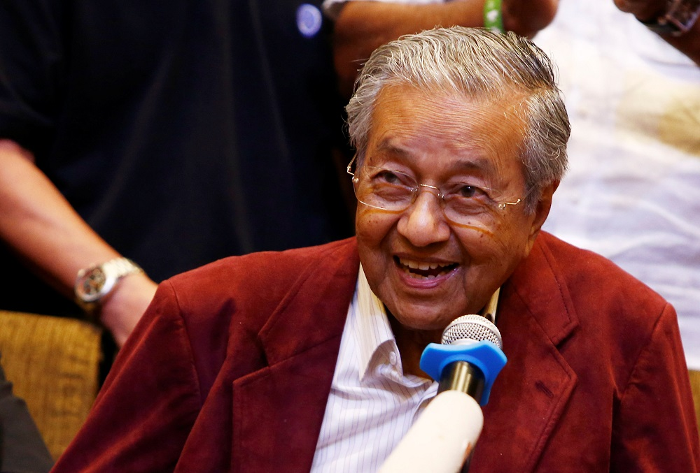 Tun Dr Mahathir Mohamad speaks during a news conference in Petaling Jaya May 10, 2018. — Reuters pic