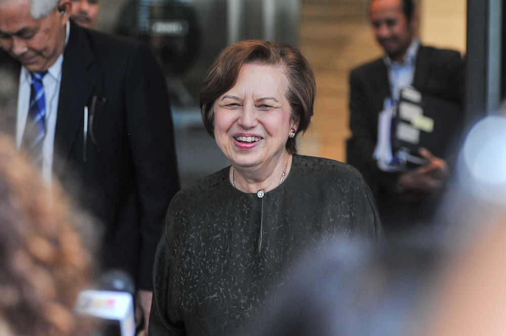 Council of Eminent Persons member Tan Sri Zeti Akhtar Aziz speaks to the media at Ilham Tower in Kuala Lumpur May 17, 2018. — Picture by Shafwan Zaidon