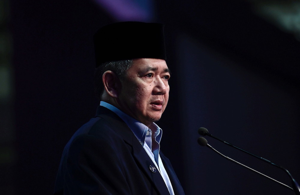 Agriculture and Agro-based Industry Minister Salahuddin Ayub speaks at a breaking of fast event at the Malaysian Agro-Exposition Park Serdang (MAEPS) in Serdang May 22, 2018. — Bernama pic