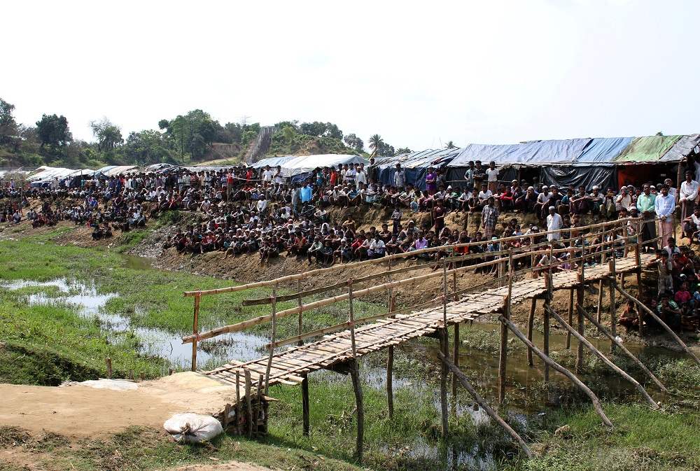 Refugees are seen at the Cox's Bazar refugee camp in Bangladesh, near Rakhine state, Myanmar, during a trip by United Nations envoys to the region April 29, 2018. Mindef today said the drop of cases in the camp's area was more stable now and the Rohingya refugees' health improving, as chronic diseases had been treated and many surgeries were successfully carried out. — Reuters pic