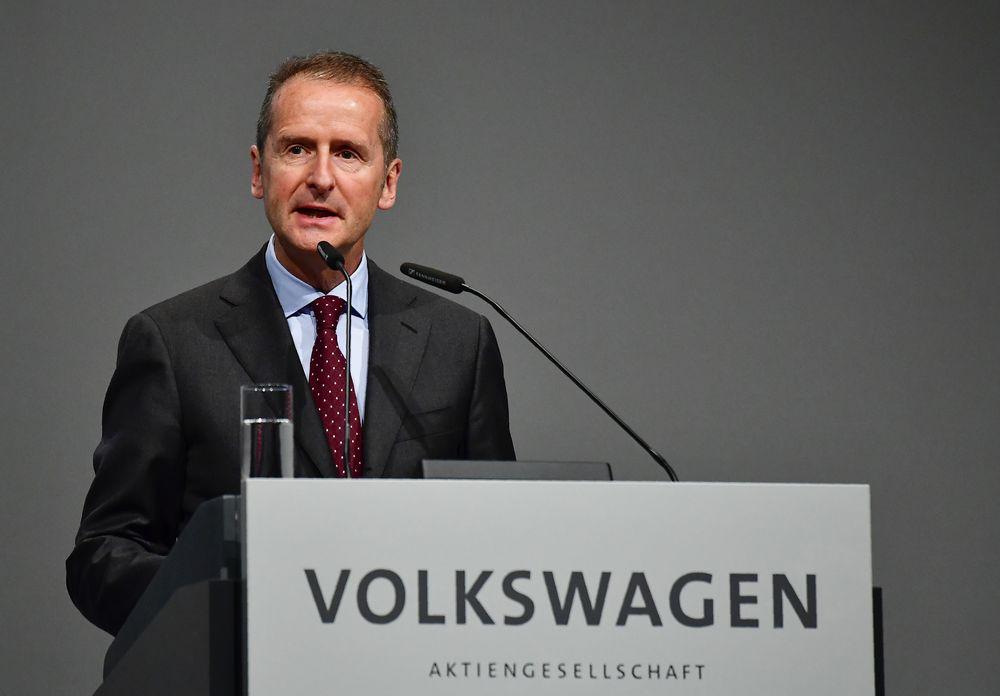 File picture shows CEO of German car maker Volkswagen (VW) Herbert Diess speaking during the VW annual general meeting, in Berlin on May 3, 2018. — AFP pic