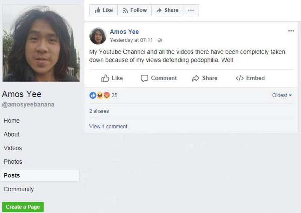 Amos said on his Facebook page that his YouTube channel has been taken down. — TODAY pic