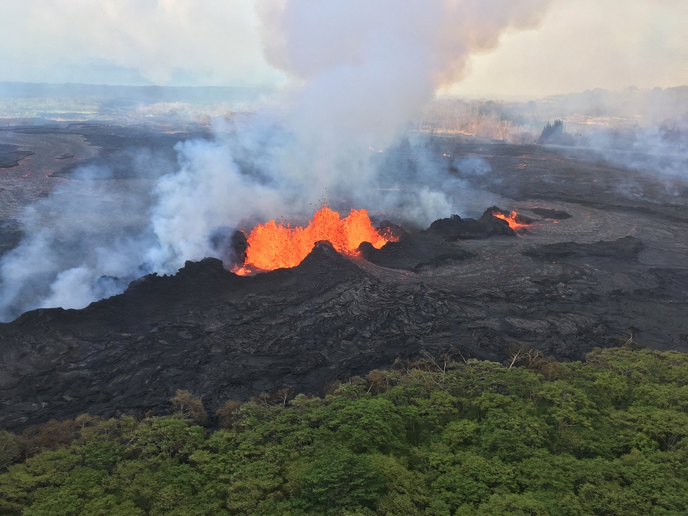 Lava fountaining at Fissure 22 is seen reaching a height of about 50m at times, during ongoing eruptions of the Kilauea Volcano in Hawaii, May 22, 2018. — Reuters pic