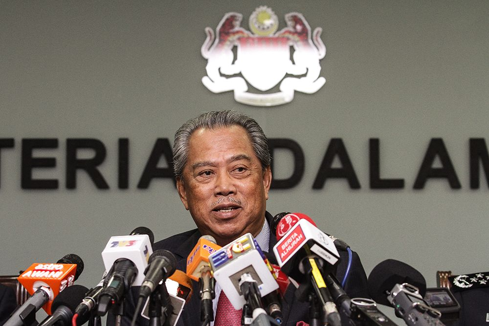 Tan Sri Muhyiddin Yassin speaks at the Department of Home Affairs in Putrajaya May 22, 2018. ― Picture by Miera Zulyana