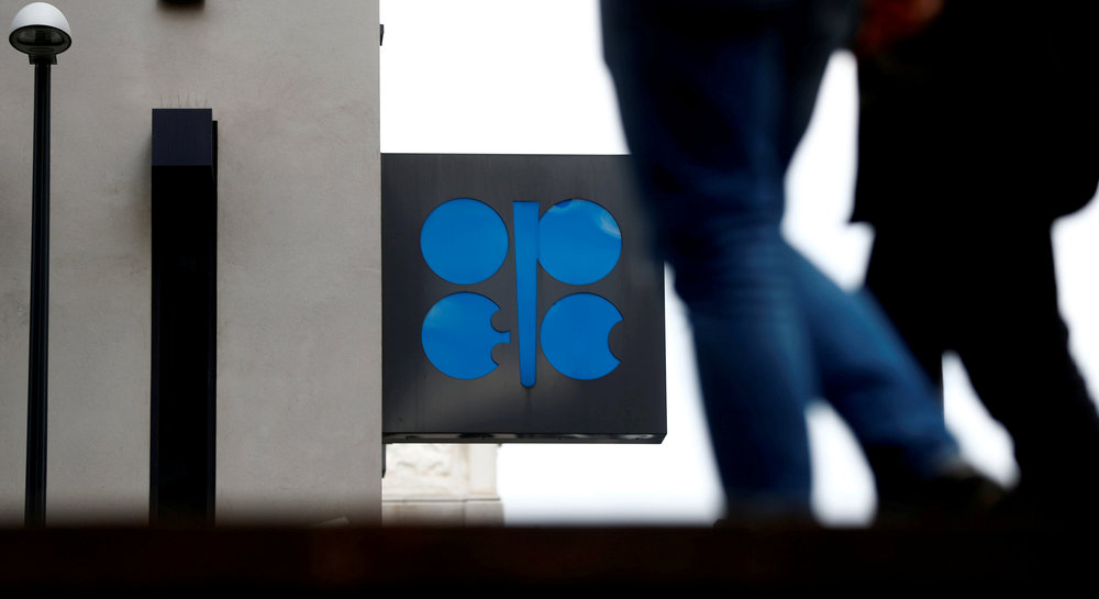 People walk past the logo of the Organisation of the Petroleum Exporting Countries (Opec) in front of its headquarters in Vienna September 21, 2017. — Reuters pic
