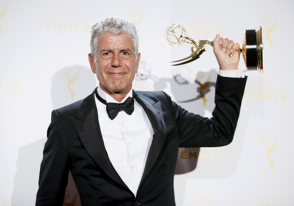 Anthony Bourdain poses with the outstanding informational series or special award for 'Anthony Bourdain Parts Unknown' backstage at the 2015 Creative Arts Emmy Awards in Los Angeles in this file picture taken on September 12, 2015. — Reuters pic
