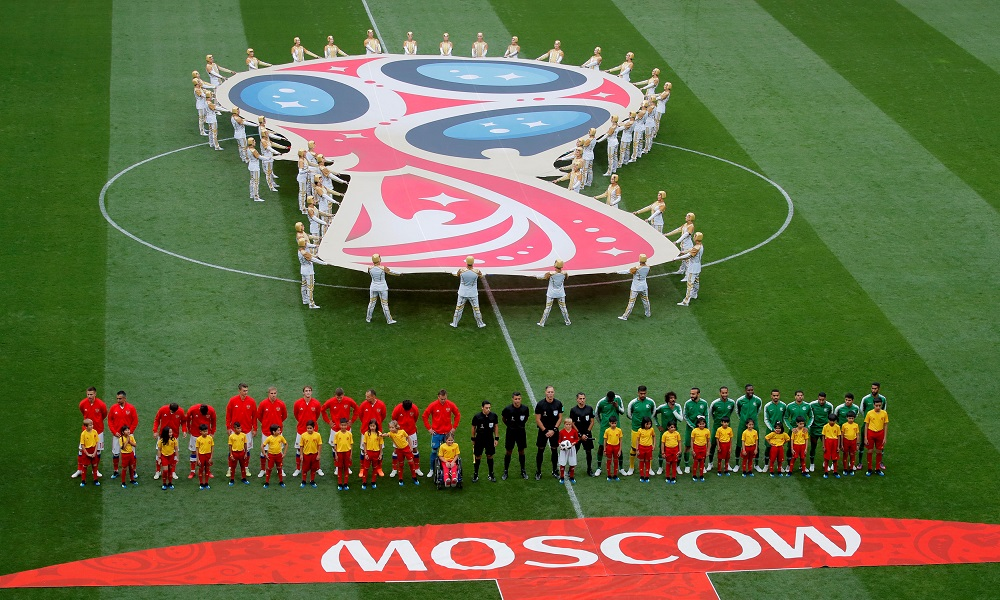 Players line up before the match in Moscow June 14, 2018. — Reuters pic