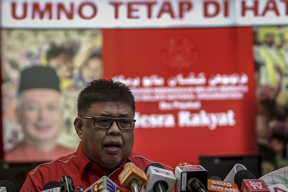 Umno executive secretary Datuk Seri Ab Rauf Yusoh speaks during a press conference in Kuala Lumpur in this file picture taken on June 17, 2018. — Picture by Hari Anggara