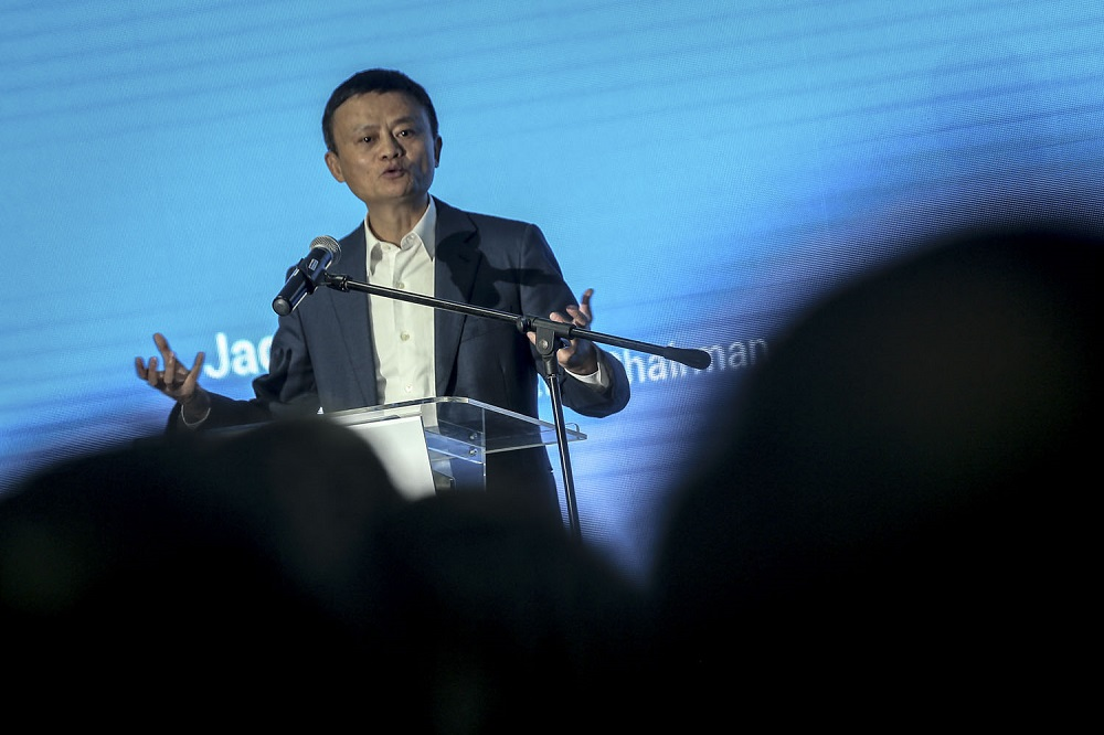 Alibaba Group executive chairman Jack Ma speaks during the opening of the group's first Southeast Asian office in Bangsar South, Kuala Lumpur June 18, 2018. — Picture by Hari Anggara