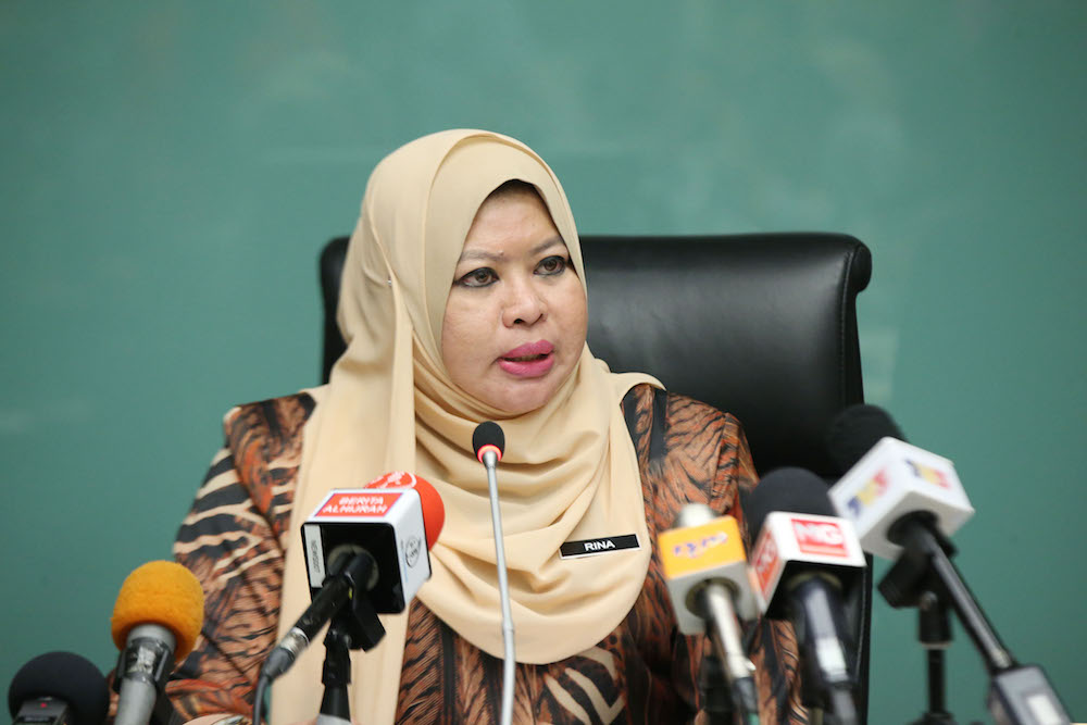 Rural and Regional Development Minister Rina Harun speaks at a special press conference in Putrajaya June 27, 2018. — Picture by Azinuddin Ghazali