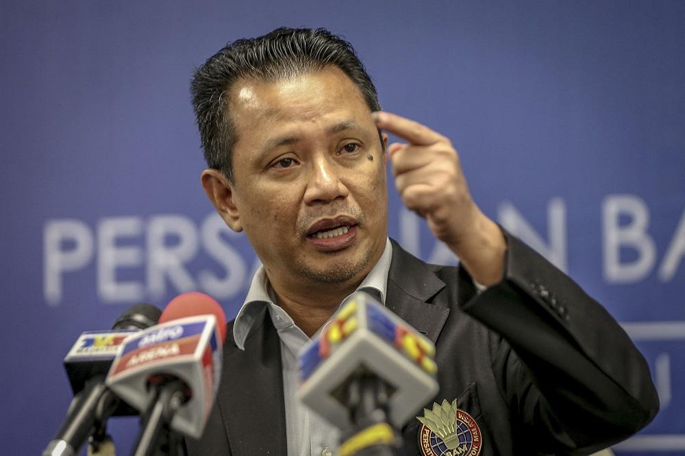 Datuk Seri Norza Zakaria speaks during a press conference at Axiata Arena in Bukit Jalil June 30, 2018. — Picture by Hari Anggara
