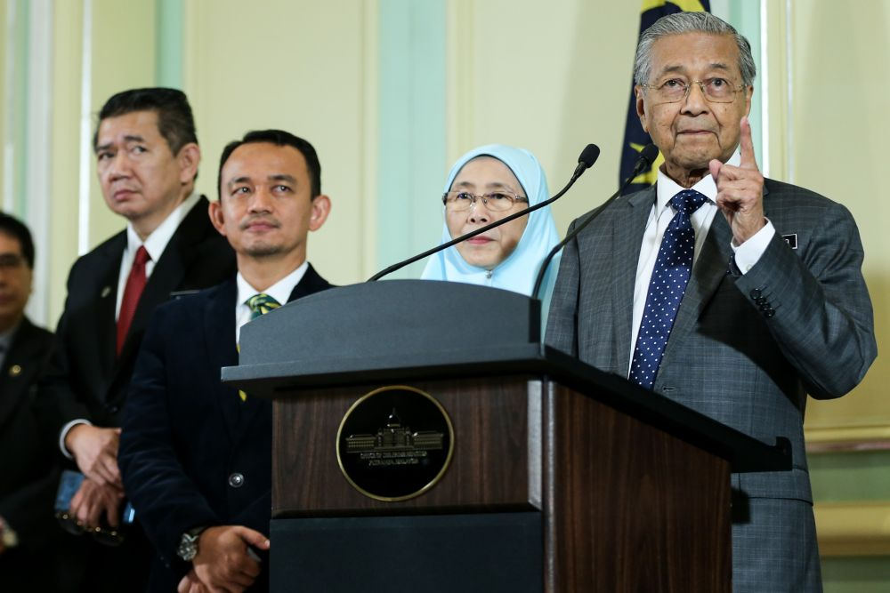 Tun Dr Mahathir Mohamad speaks at a press conference after chairing the weekly Cabinet meeting at Kompleks Perdana Putra in Putrajaya June 6, 2018. ― Picture by Ahmad Zamzahuri
