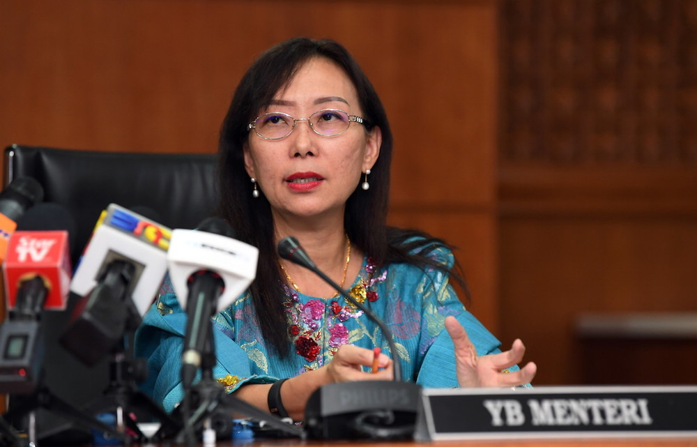Primary Industries Minister Teresa Kok giving her first press conference after her Cabinet appointment, Putrajaya July 2, 2018. — Bernama pic
