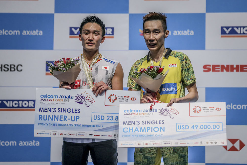Chong Wei said he was informed by Japanese head coach Park Joo Bong that Momota needed at least two weeks of rest. — Picture by Hari Anggara.