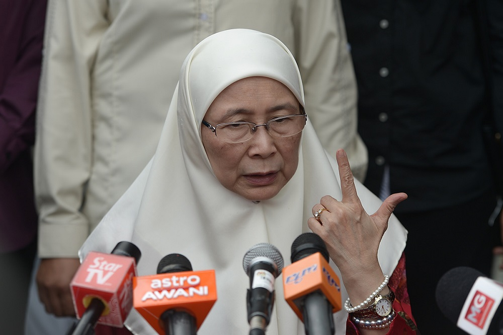 Deputy Prime Minister Datuk Seri Dr Wan Azizah Wan Ismail speaks during a press conference in Setiawangsa July 1 2018. — Picture by Mukhriz Hazim