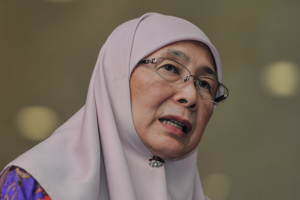 Datuk Seri Dr Wan Azizah Wan Ismail says her ministry will look into standardising the minimum marriage age. — Picture by Shafwan Zaidon