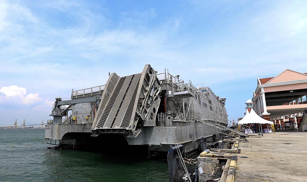 The USNS Brunswick docked at Swettenham Pier, Penang July 5, 2018.