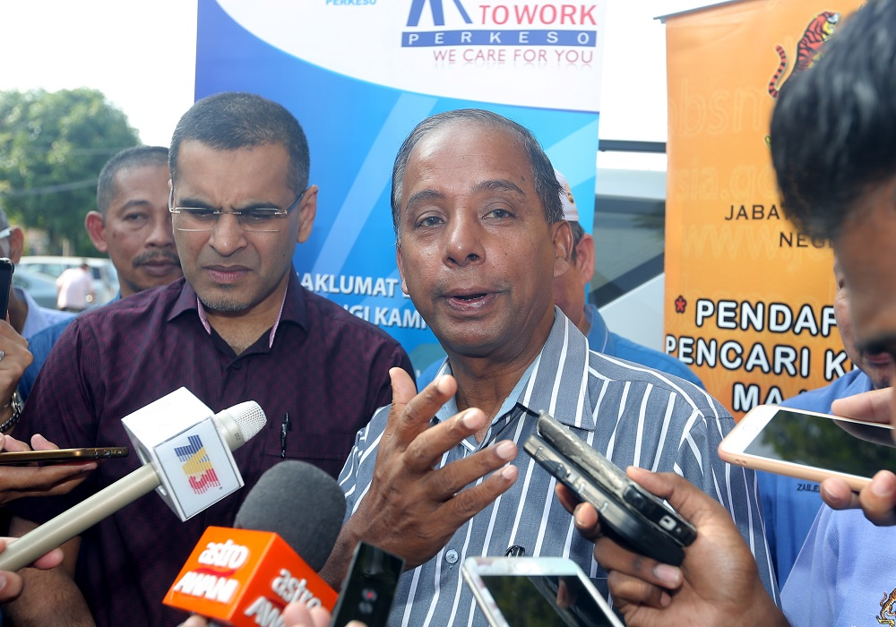 Human Resources Minister M. Kulasegaran speaks to reporters at the launch of his ministry's public service centre in Ipoh July 7, 2018. — Picture by Farhan Najib