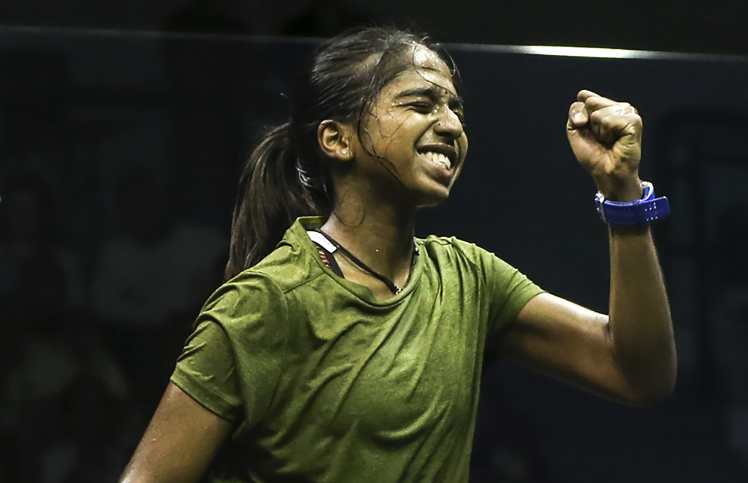 Sivasangari Subramaniam celebrates her winning against Low Wee Wern in the Ohana National Squash Championship 2018 finals at Bukit Jalil. — Picture by Azneal Ishak