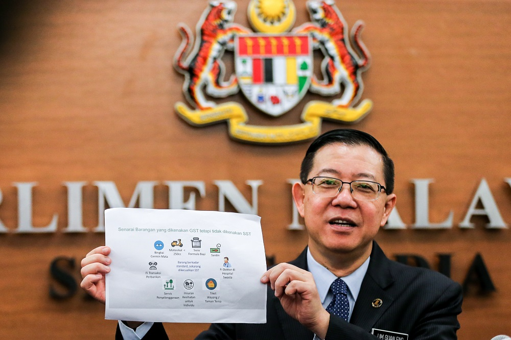 Minister of Finance Lim Guan Eng speaks during a press conference on the Sales and Services Tax  in Kuala Lumpur July 19, 2018. — Picture by Ahmad Zamzahuri