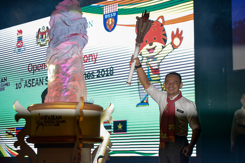 Education Minister Maszlee Malik officiates the 10th Asean School Games Malaysia in Shah Alam July 20, 2018. — Picture by Mukhriz Hazim